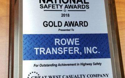 Rowe Transfer Awarded Gold National Safety Award