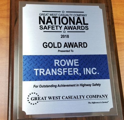 Gold safety award plaque, won by Rowe Transfer in 2018