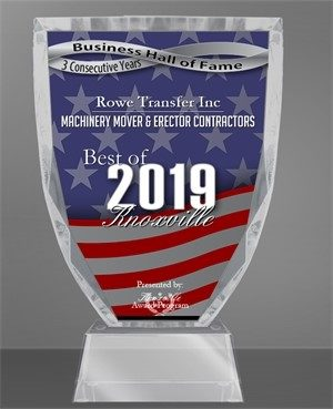 Machinery mover and erector contractor award for Rowe Transfer, 2019