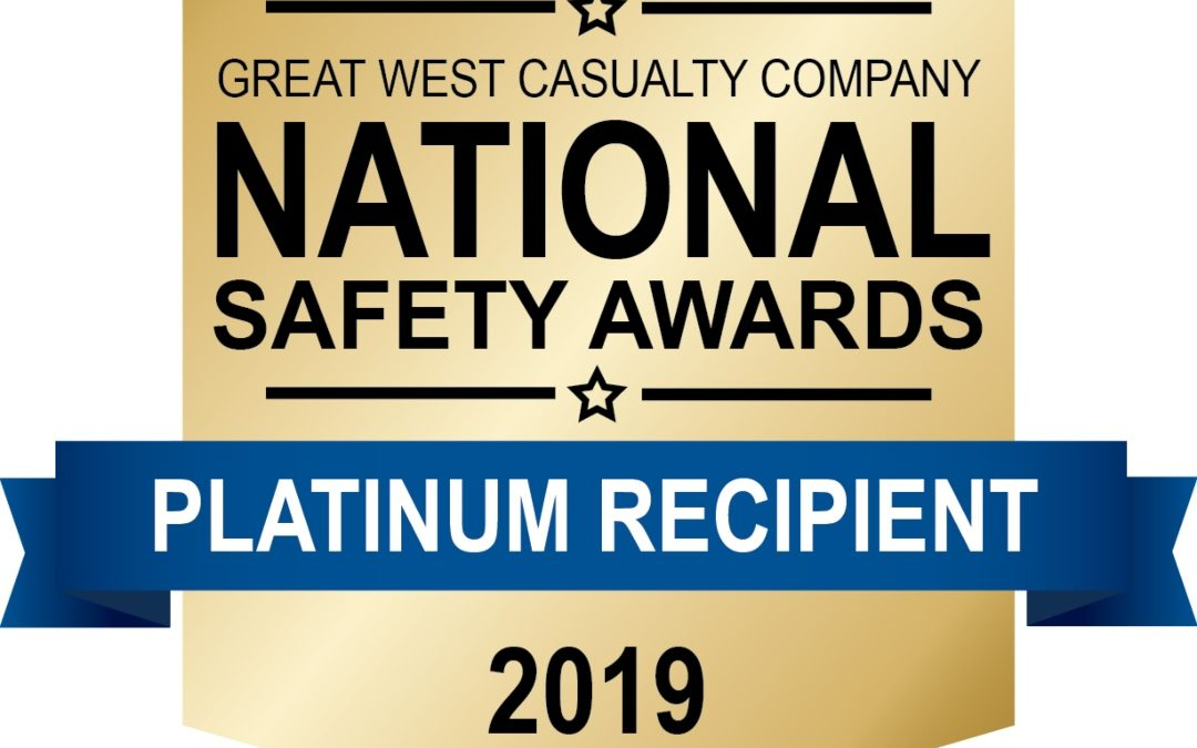 Rowe Transfer Awarded Platinum Award by Great West Casualty Company during 2019 National Safety Awards Program