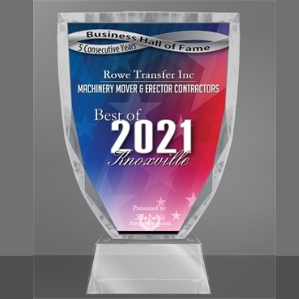 graphic of the 2021 Knoxville Business Hall of Fame Machinery Mover & Erector Contractors award given to Rowe Transfer in Knoxville TN